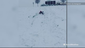 Snow day sledding gone wrong