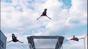 Jump Around! Check Out These Trampoline Acrobats Bouncing off Shipping Containers & Moving Trucks!