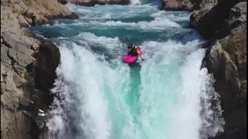 Daredevil Rides Kayak off 134-Foot Waterfall for Fun