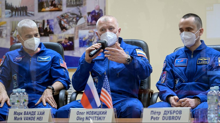 US-Russian trio blast off on mission to space station