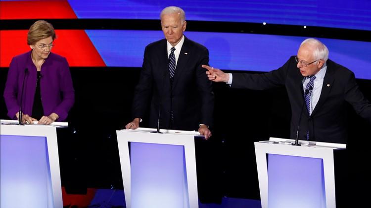 Warren Biden Sanders election 2020 Debate Jan 14 AP