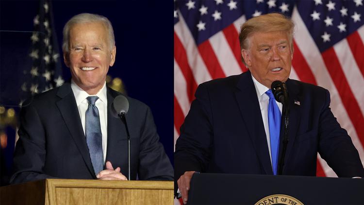 Biden urges calm, Trump makes false claims about vote counts