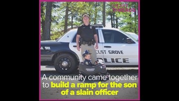 Community builds wheelchair ramp for son of slain officer
