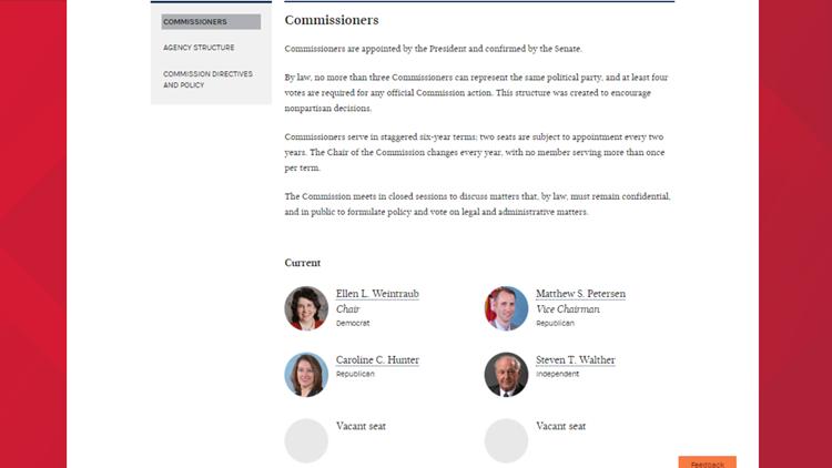 FEC Commissioners page
