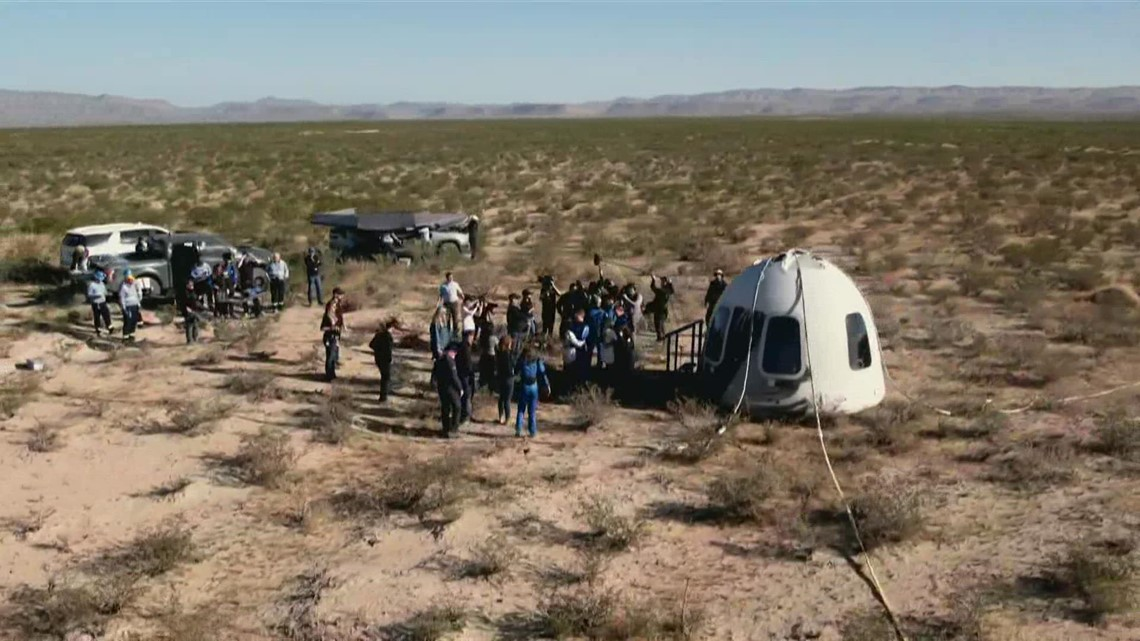 Blue Origin crew emerges from capsule after landing back on Earth