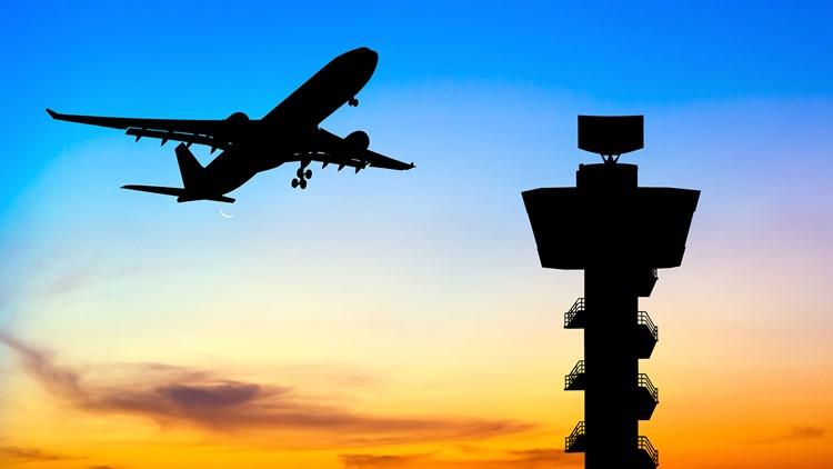 Airplane air traffic control tower silhouette air travel