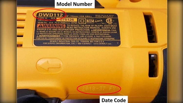 DeWALT recalled drill model number