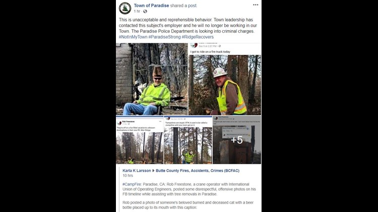 Police consider charges against Camp Fire cleanup worker who posted 'reprehensible' photos