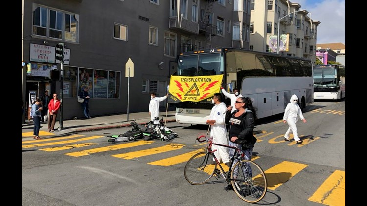 Protestors in San Francisco are using electric scooters to blockade Google buses