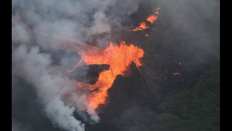 Lava flow torches warehouse at Hawaii geothermal plant