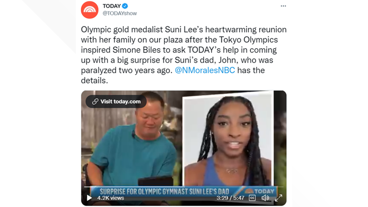 Suni Lee's dad receives electric wheelchair from Simone Biles on TODAY Show