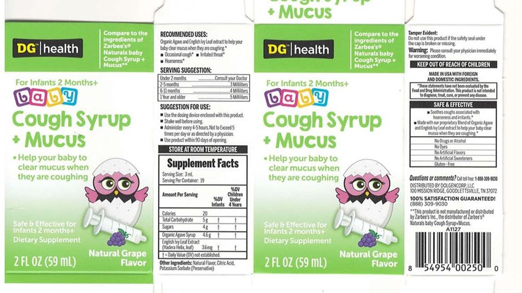DG/health NATURALS baby Cough Syrup + Mucus