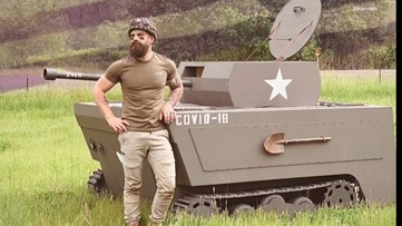 Oregon woodworker transforms lawnmower into a wooden tank