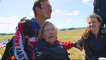 103-year-old Seattle woman jumps out of plane hoping to set skydiving record