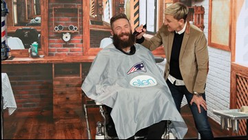 Julian Edelman lets Ellen shave his beard for charity