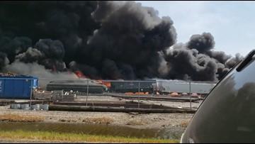 Train derails, goes up in flames near St. Louis