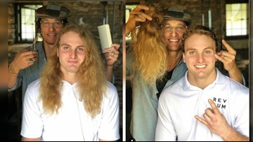 Matthew McConaughey officially cuts Texas Longhorns DE Breckyn Hager's golden locks