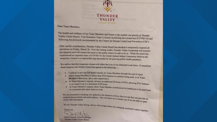 Letter from Thunder Valley casino no employees