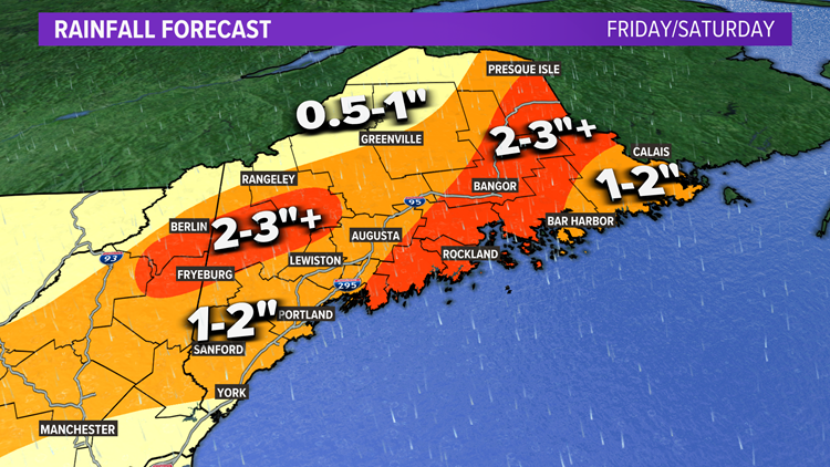 Heavy rain likely in Maine on Friday, unsettled this weekend