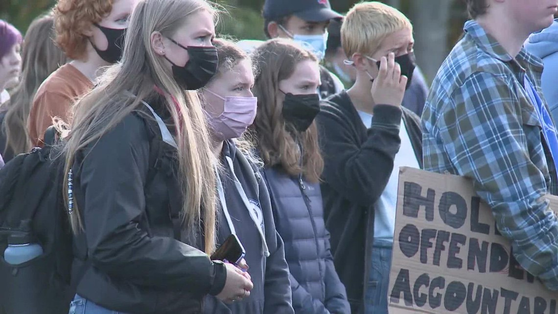 Camden Hills Regional High School students walk out of class to protest alleged sexual assault