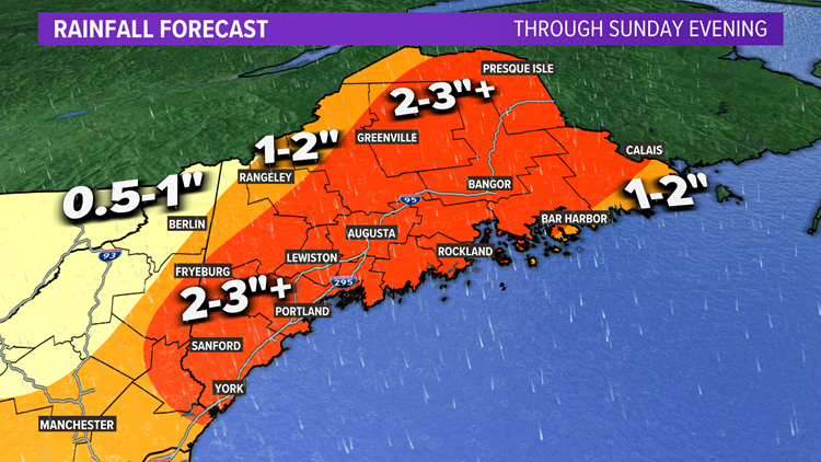 The weekend trends wetter in Maine