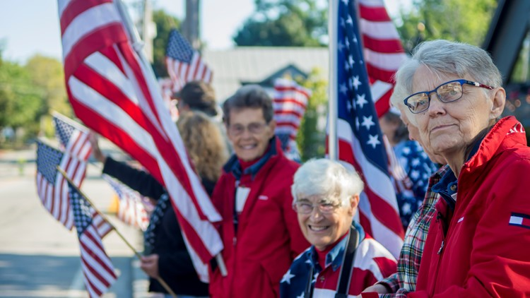 The Freeport Flag Ladies return to their post to honor the anniversary of September 11th