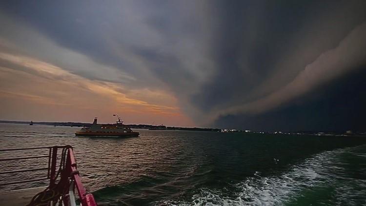 Storm front entering Casco Bay a Portland