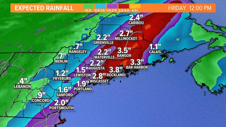 Big waves and heavy rain swing through Maine
