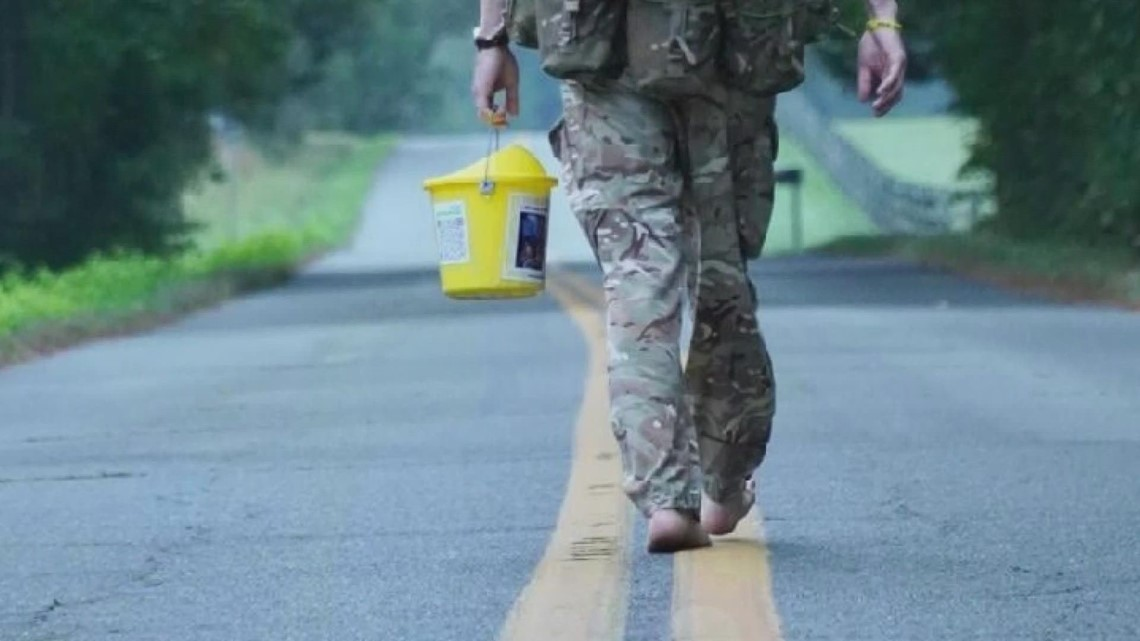 British father finishes 1,000 mile barefoot walk from Maine to North Carolina
