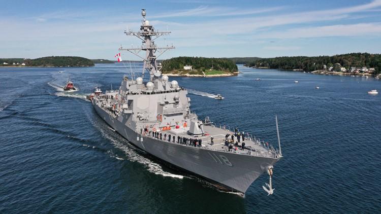 Future USS Daniel Inouye sails from BIW