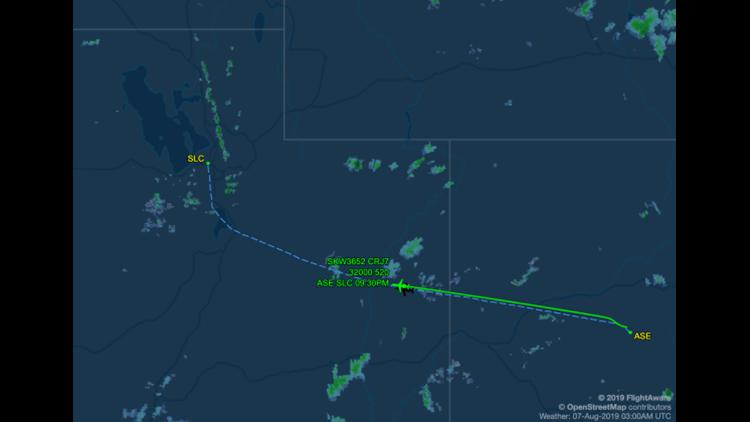 Delta Connection flight DL3652 from Aspen (ASE) to Salt Lake City (SLC) (Image courtesy of FlightAware)