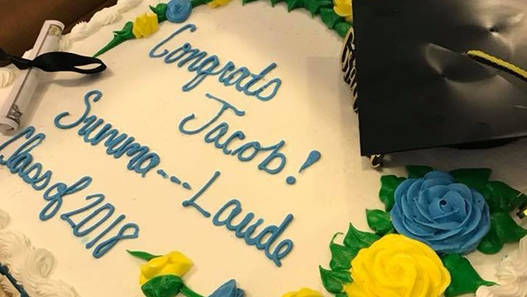Publix software censored Cara Koscinski's graduation cake to say 'Summa --- Laude.'