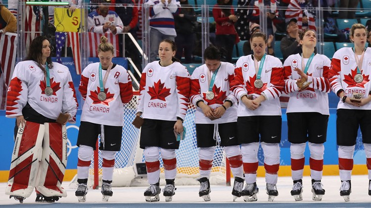 Jocelyne Larocque #3 of Canada refuses to wear her silver medal after losing to the United States in the Women's Gold Medal Game on day thirteen of the PyeongChang 2018 Winter Olympic Games at Gangneung Hockey Centre on February 22, 2018.