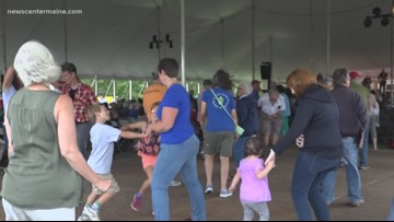 On the dance floor at the American Folk Festival
