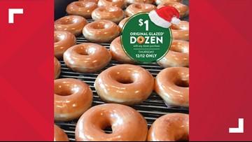 Get a dozen Krispy Kreme Original Glazed donuts for $1