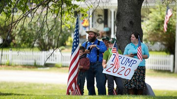 Crowd gathers in Guilford, awaiting President Trump