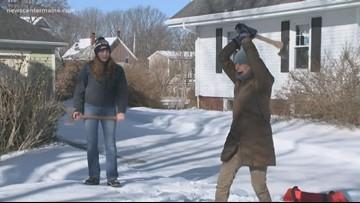 Maine women take on axe throwing
