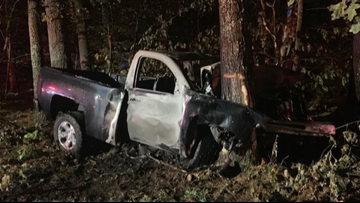 Teen accused of speeding pulled from burning pickup by