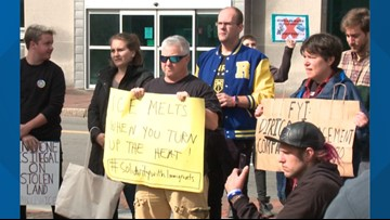 Protesters rally against new ICE office in Portland's Monument Square