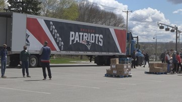 Patriots truck stops in Bangor to deliver meals for veterans during coronavirus, COVID-19 pandemic