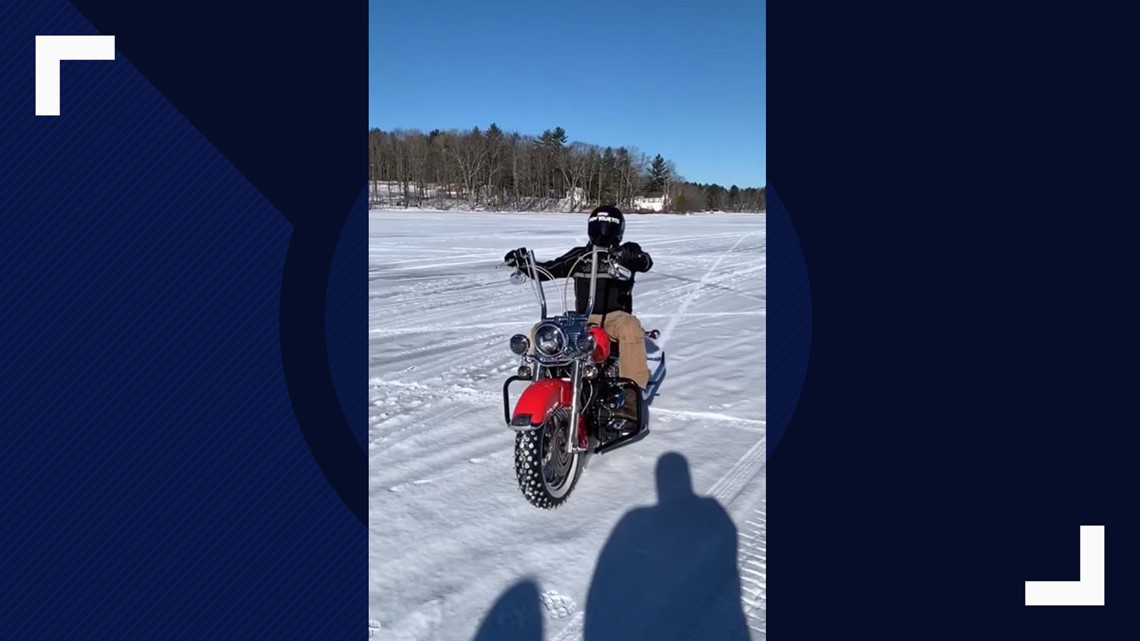Motorcyclists take a spin out on the ice