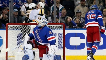 Bruins' second period scoring frenzy overwhelms the Rangers