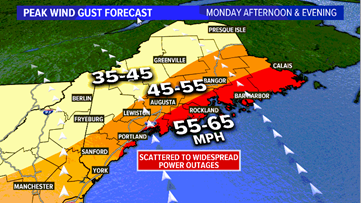Power outages expected Monday with strong wind gusts, heavy rain in Maine weather