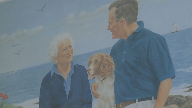 Painting of former President George H. W. Bush and First Lady Barbara Bush.