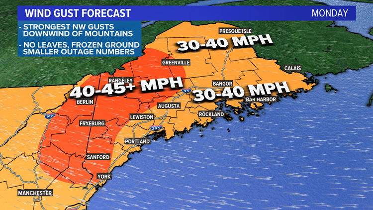 Wind and rain, oh my. Maine hit with nast weather Monday