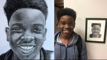 Police officer shares his talent creating portraits for immigrant and minority students