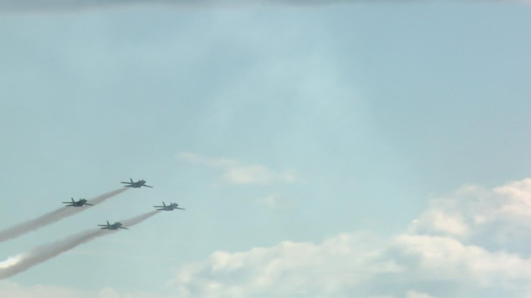 Blue Angels practice for Brunswick air show this weekend
