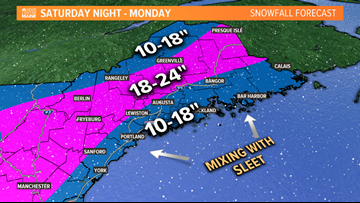 Major winter storm moves in tonight. Heavy snow on tap for most of Maine
