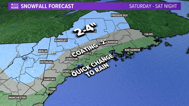Mountain snow, coastal rain expected Saturday