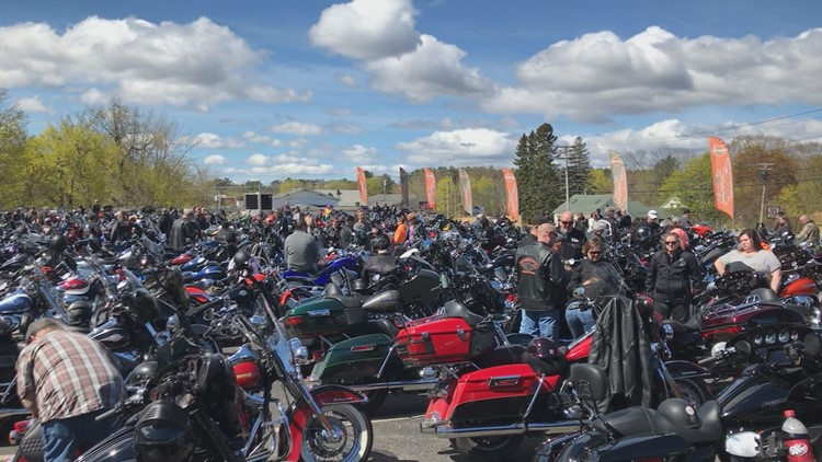 Motorcyclists at the Dempsey Center Benefit Ride in Lewiston at L-A Harley